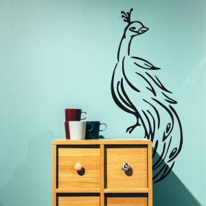 Peacock wall decal made with FDC 4301 Removable Vinyl from Coastal Business Solutions
