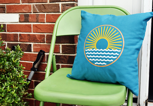 Heat Transfer Vinyl on Blue Throw Pillow from Coastal Business Supplies