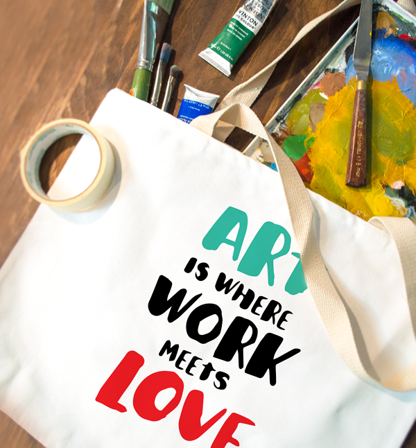 tote bag design art is where work meets love canvas coastal business supplies paintbrush tape painting paints
