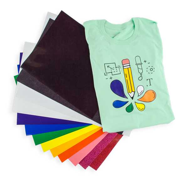 heat transfer vinyl htv siser xpress cut silhouette coastal business supplies t-shirt pencil paint graphic design tshirt design vinyl sheets rainbow colors